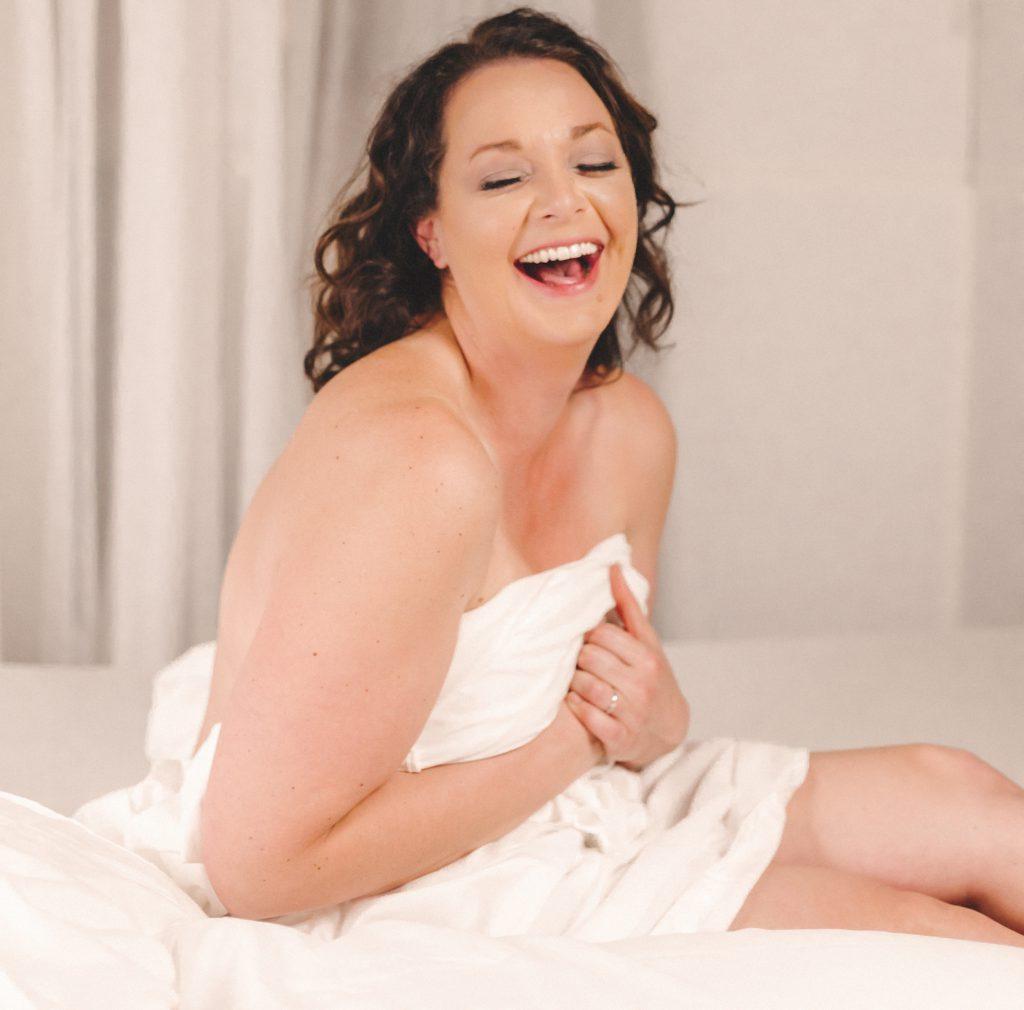 White sheet boudoir photoshoot in Berks County, PA